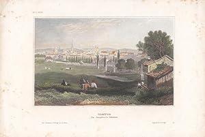 OLMÜTZ, Blick auf die Hauptveste, altkolorierter Stahlstich um 1850 aus dem bibliographischen ...