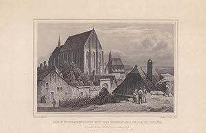 ZNAYM, die St. Nikolauskirche mit der Wenzelskapelle, schöner Stahlstich um 1850 von Emil H&...