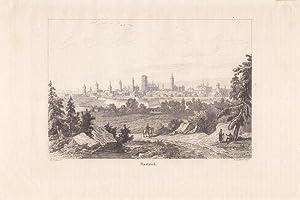 DANZIG, Blick auf Dantziek, Lithographie um 1850 mit einem wunderschönen Blick von erhö...