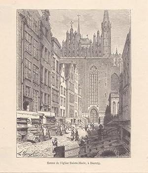 DANZIG, Entree de l église Sainte - Marie, Holzstich n. Clerget um 1870, Blattgrö&szlig...