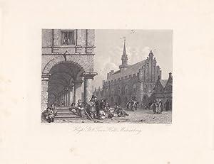 MARIENBURG, High Street and Town Hall, Haupstraße und Rathaus, Original Stahlstich um 1850 ...