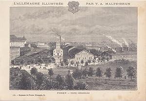 POSEN, Usine Gergielski, Holzstich um 1870 einer Fabrikansicht aus der Vogelperspektive von Victor ...