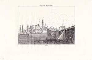 THORN, Torun, Kupferstich um 1830, der die Altstadt des Mittelalters vom Fluss her, mit einem ...