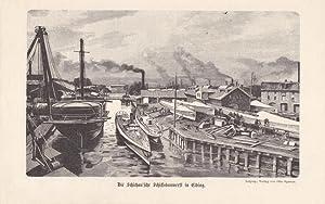 ELBING, Die Schichau sche Schiffsbauwerft in Elbing, Holzschnitt aus dem Jahr 1887 nach einer ...
