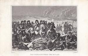 Eylau, Preußisch Eylau, Bagrationowsk, Das Schlachtfeld bei Eylau, Stahlstich um 1840 von ...