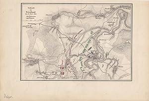 Friedland, Prawdinsk, altkolorierte Lithographie um 1840 mit den Truppenbewegungen der Franzosen ...