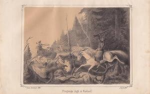 Kurland, Lettland, Fliegende Jagd in Kurland, Lithographie von 1861 durch Guido Hammer, Blattgr&...