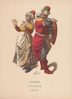 Litauen, Preussen, Darstellung der Volkstracht der Litauer um 1600, Holzstich um 1902 von Friedrich...