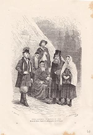 Judaica, Types Galiciens - Paysans et Juifs, Holzstich um 1878 auf dem galizische Bauern und Juden ...