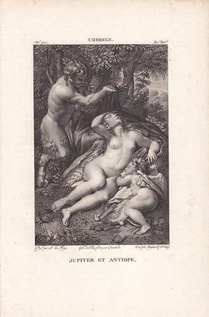 Jupiter und Antiope, Kupferstich um 1830 nach dem Original von Antonio da Correggio (1689 - 1534) ...