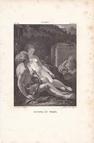 Oinone und Paris, Kupferstich um 1820 nach dem Original von Werff durch Roger/ Leroy, Blattgr&...
