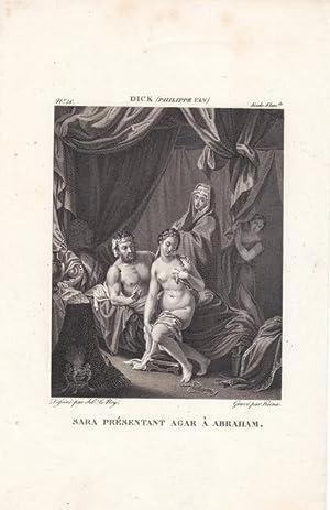 Sarah führt Hagar Abraham zu, Sara presentant Agar a Abraham, Kupferstich um 1820 nach einem ...