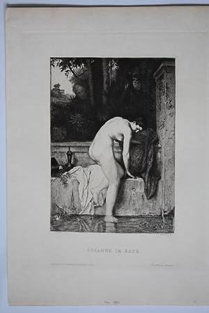 Susanne im Bade, schöne Radierung um 1880 von C.A. Waltner nach J.J. Henner, Blattgrö&...