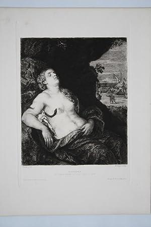 Kleopatra, Radierung um 1870 von W. Unger nach einem Original von Tizian, Blattgröße: ...