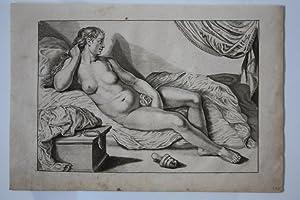 Liegende Venus, original Kupferstich aus der zweiten Hälfte des 18. Jhd. mit rechten ...
