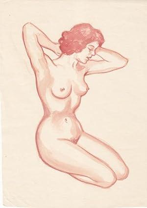 weibliche Aktskizze, knieende Frau in rötelfarbendem Aquarell aus den 1940er Jahren, ...