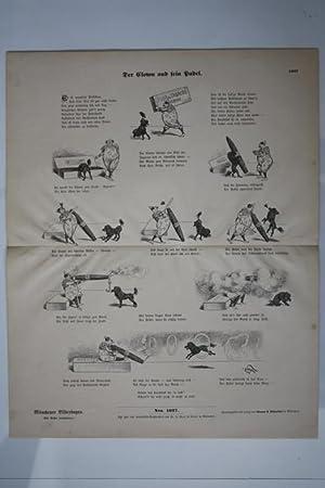 Der Clown und sein Pudel, Großformatiger Bogen mit Holzschnitt um 1894 aus der Reihe Mü...