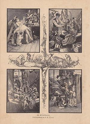 Im Affentheater, Blatt mit vier einzelnen Holzstichen um 1880 nach Originalzeichnung von C.W. ...