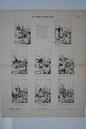 Jahrmarkt, Der Thaler im Wasserschaff, Großformatiger Holzstich um 1895 aus dem Münchner...