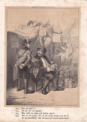 Wochenmarkt, Schöne Lithographie um 1860 aus dem Düsseldorfer Monatheft 9. Band. No. 17, ...
