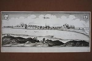 Bärnstein, Pelczyce, original Kupferstich um 1650 von Merian (1593 - 1650), Blattgrö&...