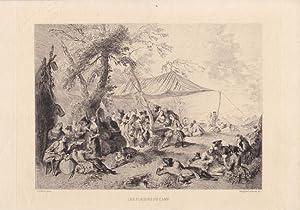 Les Plaisirs du Camp, schöner Kupferstich 1873 von Adolphe Lalauze nach Jean Baptiste Joseph ...