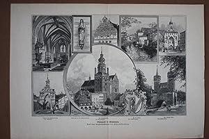 Stargard, Sammelbild mit acht Ansichten, Holzstich um 1880 nach einer Zeichnung von Fritz ...