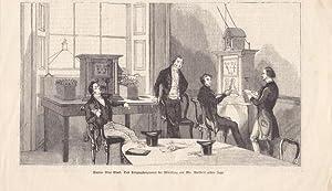 Schachpartie mittelst elektromagnetischer Telegraphie, seltener Holzstich aus dem Jahr 1845, ...