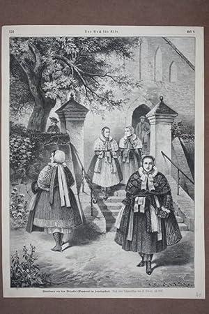 Weizacker, Bäuerinnen im Sonntagsstaat, Holzstich von 1889 nach einer Originalskizze von F. ...
