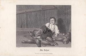 Kegeln, Alle Zehn!, Stahlstich um 1840 von W.C. Wrankmore, Blattgröße: 11 x 17 cm, reine...