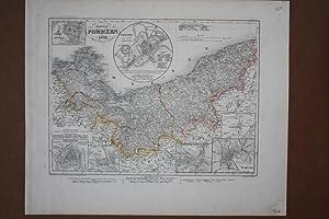 Provinz Pommern 1849, altkolorierte Stahlstichkarte ca. 1850 aus dem Bibliographischen Institut ...
