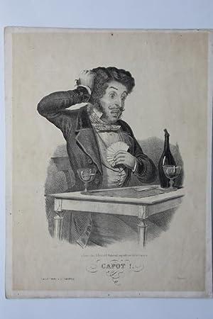 Kein Stich, Capot, großformatige Lithographie um 1825, Blattgröße: 33 x 25,5 cm, ...