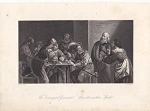 Die überraschten Spieler, originaler Stahlstich um 1850 von W. French nach Romboute, Blattgr&...