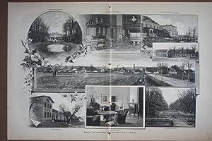 Varzin, großformatiges Sammelbild mit acht Darstellungen, Holzstich nach photographischen ...