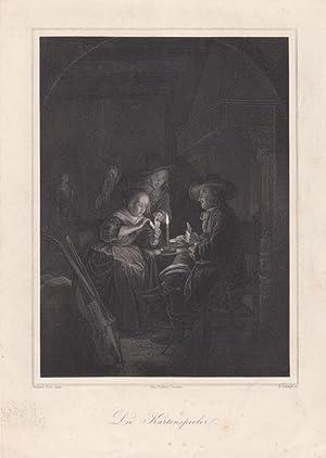 Die Kartenspieler, Stahlstich um 1857 von F. Schmidt nach einem Original von Gerard Dou (1613 - ...