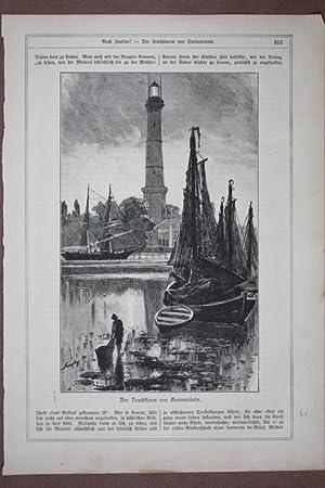 Swinemünde, Der Leuchtturm, Holzstich um 1900 umrahmt von Text, Blattgröße: 32,3 x ...