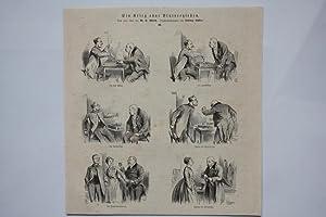Schach, Ein Krieg ohne Blutvergießen, Holzstich 1872 nach einer Zeichnung von Ludwig Lö...