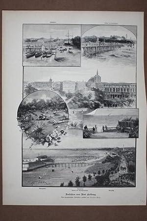 Bad Kolberg, Sammelbild mit Holzstich um 1890 nach Zeichnungen von Theodor Volz, Blattgrö&...