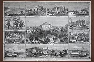 Midroy, Das Ostseebad Misdroy, Sammelbild mit 12 Holzstich von 1867 nach einer Zeichnung von A. ...