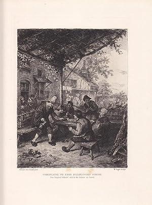 Sommerlaube vor einer holländischen Schenke, Radierung um 1880 von W. Unger nach Adriaen van ...