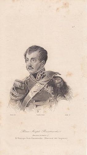 Józef Antoni Poniatowski Portrait, schöner Stahlstich um 1843 von Lemaitre, Blattgr&...