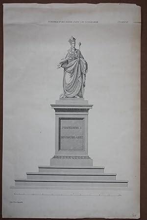 Stanislawow, Standbild seiner Majestät Kaiser Franz I., Stahlstich 1839 der allgemeinen ...