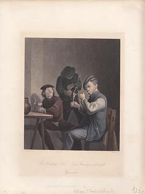 Die Rauchgesellschaft, The smoking Club, altkolorierter Stahlstich um 1850 von Carsle nach Brouwer,...
