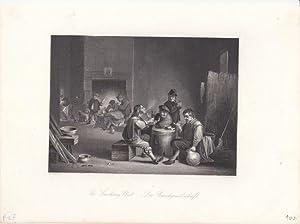 Die Rauchgesellschaft, The smoking Club, originaler Stahlstich um 1850 von W. French nach D. Tenier...
