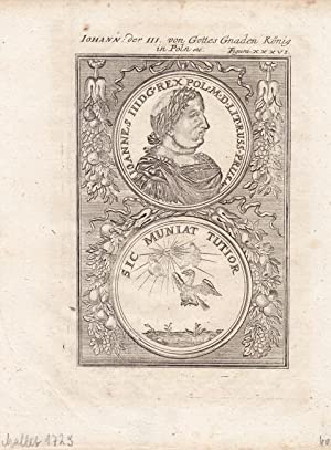 Johann der III. von Gottes Gnaden König in Poln, Kupferstich um 1729 von Alain Manesson Mallet...