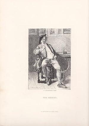 The Smoker, Stahlstich um 1877 nach J.L. Meissonier, Blattgröße: 32 x 23 cm, reine ...