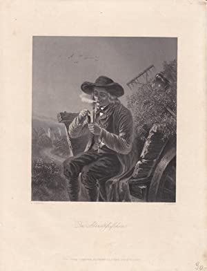 Das Abendpfeifchen, schöner Stahlstich um 1850 von W. French nach E. Stammel, älterer ...