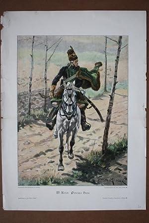 Polnischer Husar, altkolorierter Holzstich 1872 von W. Kossak als Aquarell Faksimile, Blattgrö...