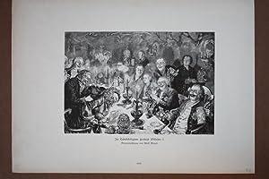 Im Tabakskollegium Friedrich Wilhelm I., Holzstich um 1890 nach einer Originalzeichnung von Adolf ...