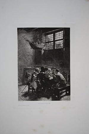 Rauchcollegium, Radierung um 1890 von Fr. Böttcher